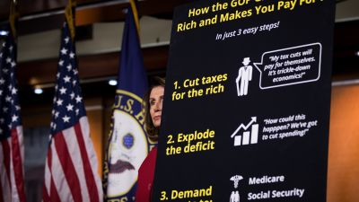 House Minority Leader Nancy Pelosi (D-CA) during a news conference to express their opposition to the GOP tax reform plan in Washington, DC, on Oct. 25, 2017. (Photo by Drew Angerer/Getty Images)