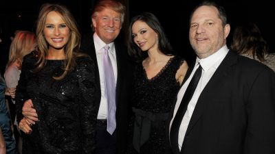 Melania Trump, Donald Trump, Georgina Chapman and Harvey Weinstein attend the after party of the New York premiere of NINE at the M2 Ultra Lounge on Dec. 15, 2009 in New York City. (Photo by Stephen Lovekin/Getty Images for The Weinstein Company)