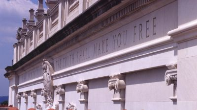 Inscription on the Main Building at the University of Texas at Austin. (Photo courtesy of the University of Texas at Austin)