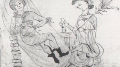 Drawing from a 13th-century manuscript depicting a pregnant woman in repose, while another holds some pennyroyal in one hand and prepares a concoction using a mortar and pestle with the other. Historically, Pennyroyal was used as an herbal abortifacient. (Wikicommons)