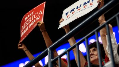 Supporters of President Donald Trump at a rally at the Covelli Centre on July 25, 2017 in Youngstown, Ohio. (Photo by Justin Merriman/Getty Images)