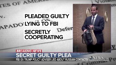 George Papadopoulos, the former Trump campaign adviser who pleaded guilty to several charges in special counsel Robert Mueller's investigation of Trump-Russia connections. (Screen shot of ABC's World News Tonight on Oct. 30, 2017)
