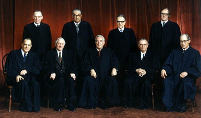 The United States Supreme Court membership in 1973 at the time of Roe v. Wade.