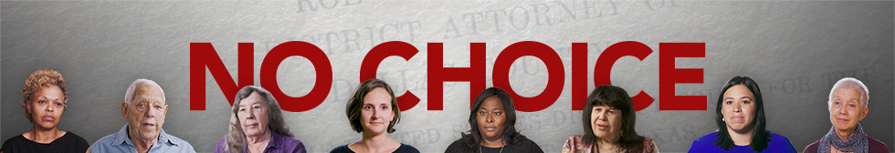 No Choice banner with images of video subjects in series