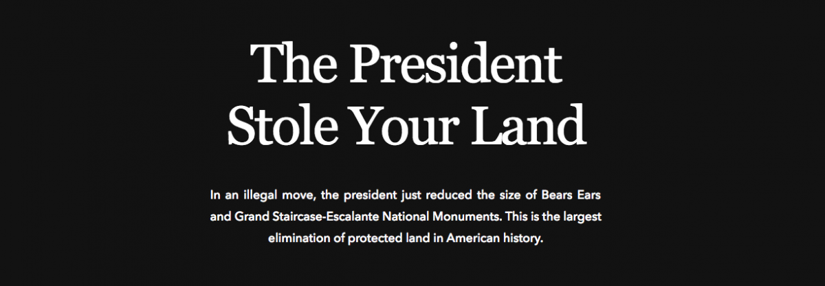 Message on the Patagonia homepage on Dec. 5, 2017
