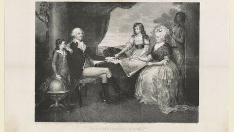 George Washington and his family [around table]. Black servant William Lee standing in background.