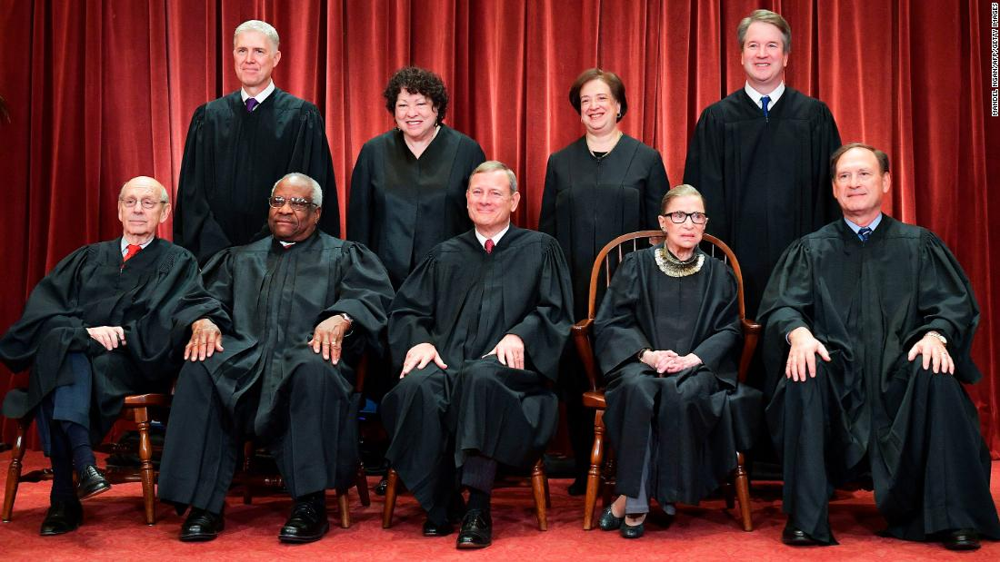 Justices of the US Supreme Court pose for their official photo at the Supreme Court in Washington, DC on November 30, 2018. (Photo by MANDEL NGAN / AFP)