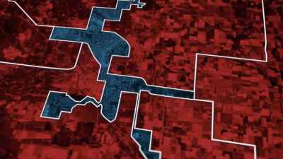 An example of 'packing' in gerrymandering, Screenshot from 'Slay the Dragon'