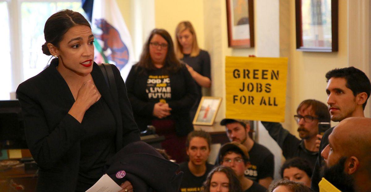 Rep. Alexandria Ocasio-Cortez joins Sunrise Movement Protest in 2018. (Credit: Sunrise Movement)
