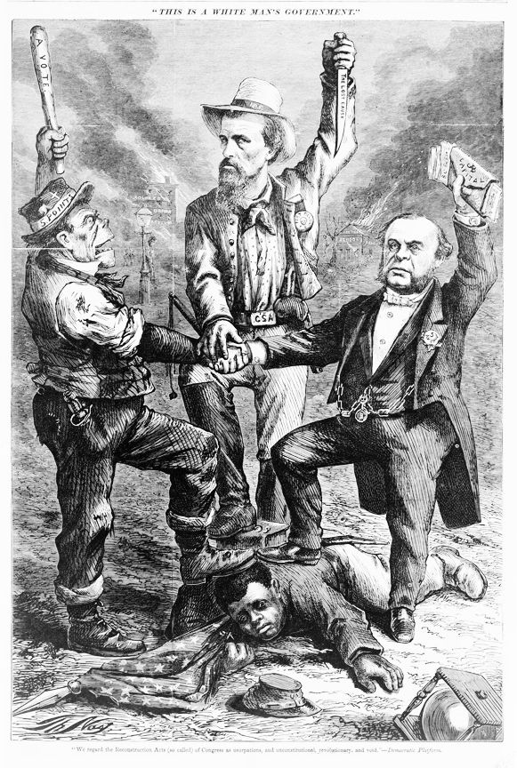 """Cartoon showing man with belt buckle """"CSA"""" holding a knife """"the lost cause,"""" a stereotyped Irishman holding club """"a vote,"""" and another man wearing a button """"5 Avenue"""" and holding wallet """"capital for votes,"""" with their feet on an African American soldier sprawled on the ground. In the background, a """"colored orphan asylum"""" and a """"southern school"""" are in flames; African American children have been lynched near the burning buildings. Illus. by Thomas Nast in: Harper's weekly, Sept. 1868 (Library of Congress)"""